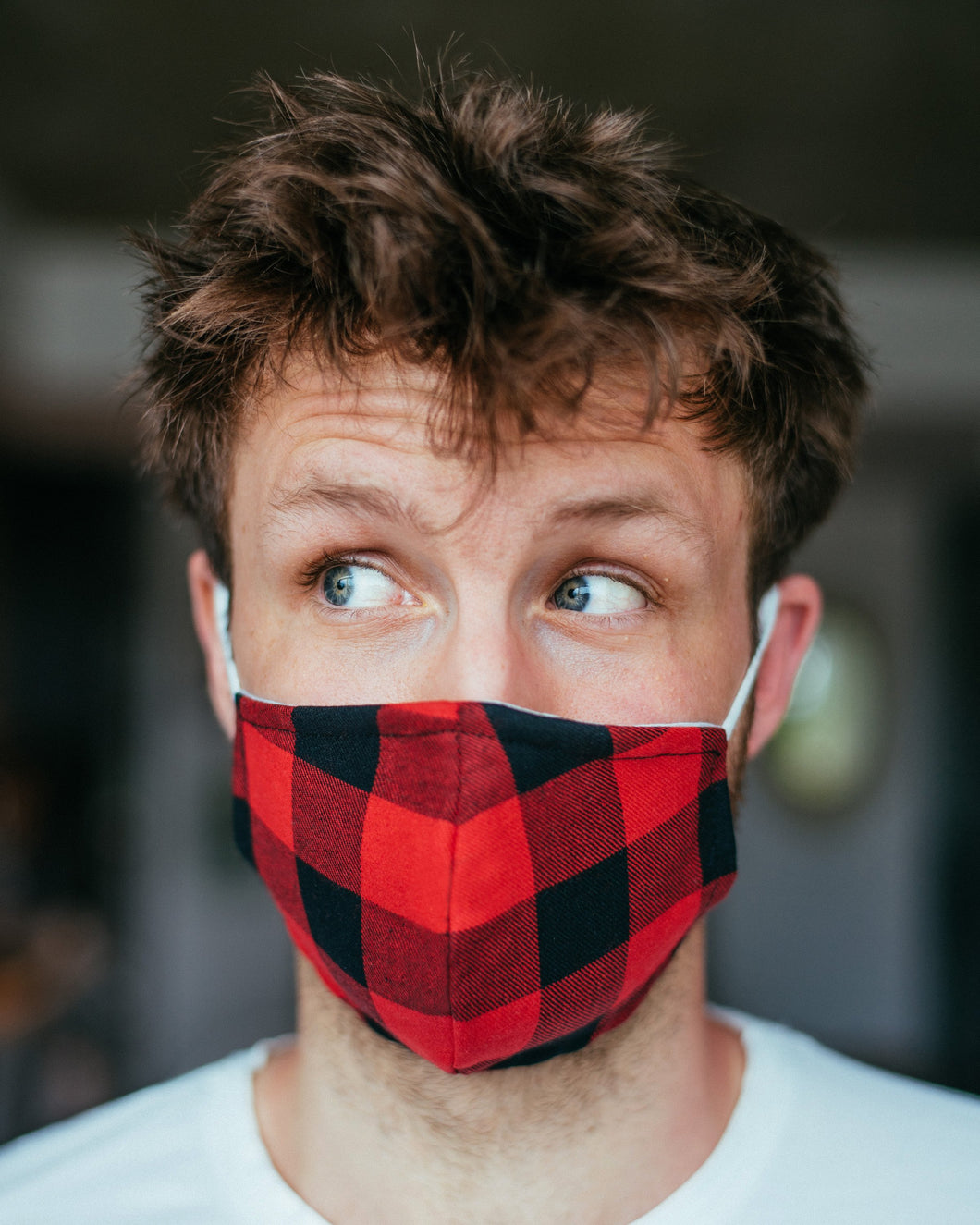 POOK MASK ( Red/Black Plaid)