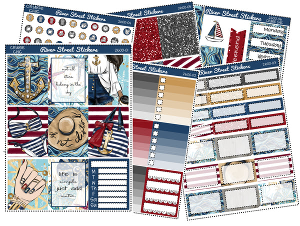 Cruise Chic Weekly Planner Sticker Kit