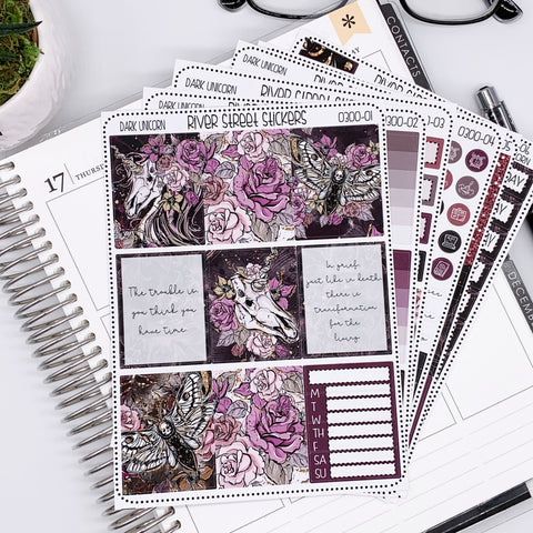 DARK UNICORN WEEKLY PLANNER STICKER KIT
