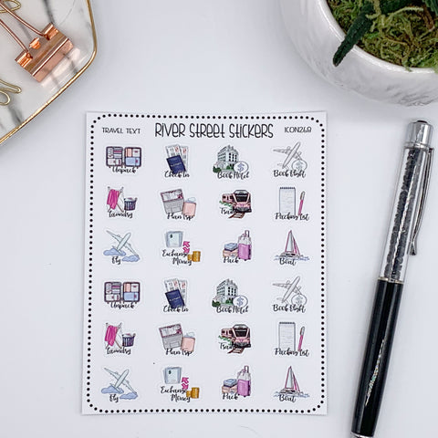 TRAVEL SCRIPT FUNCTIONAL ICON STICKERS