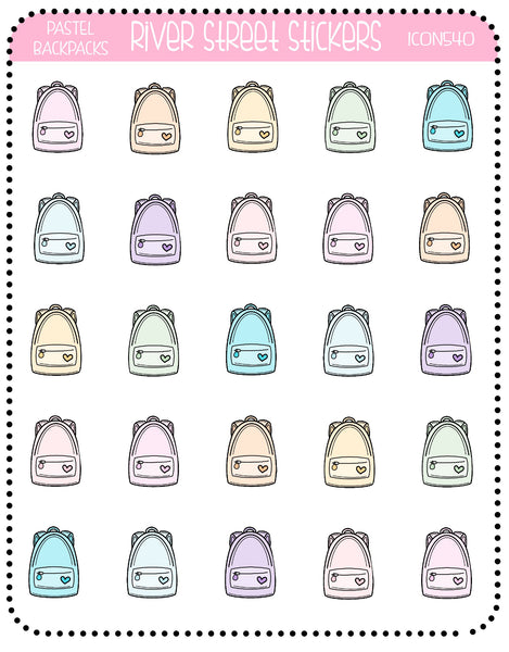 Pastel Backpack Icons