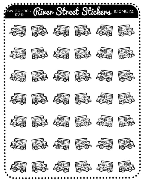 BW School Bus Icons
