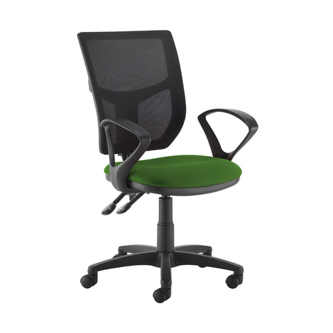 Altino 2 lever high mesh back operators chair with fixed arms - Lombok Green - Furniture