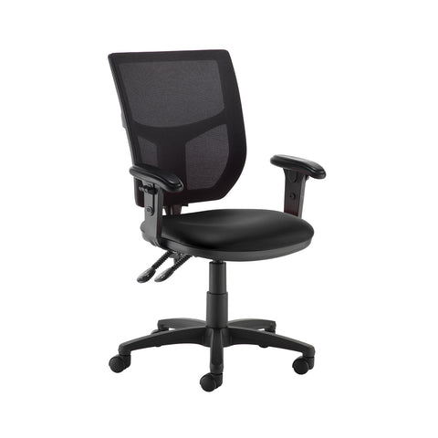 Altino 2 lever high mesh back operators chair with adjustable arms - Nero Black vinyl - Furniture