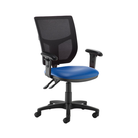 Altino 2 lever high mesh back operators chair with adjustable arms - Ocean Blue vinyl - Furniture