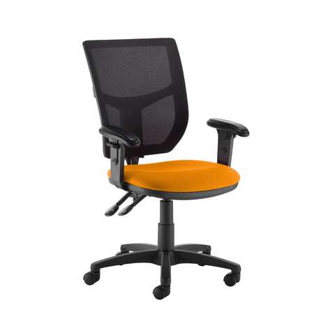 Altino 2 lever high mesh back operators chair with adjustable arms - Solano Yellow - Furniture