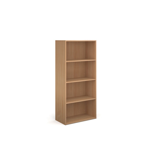 Contract bookcase 1630mm high with 3 shelves - beech - Furniture