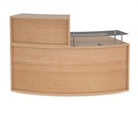 Denver medium curved complete reception unit - beech - Furniture