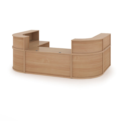 Denver extra large U-shaped complete reception unit - beech - Furniture