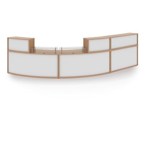Denver extra large curved complete reception unit - beech with white panels - Furniture