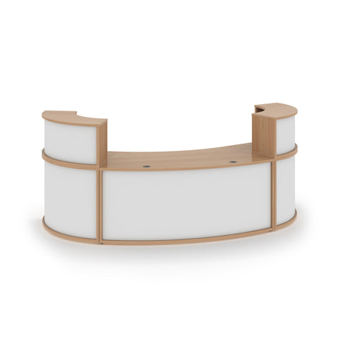 Denver large curved complete reception unit - beech with white panels - Furniture