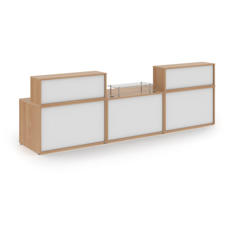 Denver large straight complete reception unit - beech with white panels - Furniture