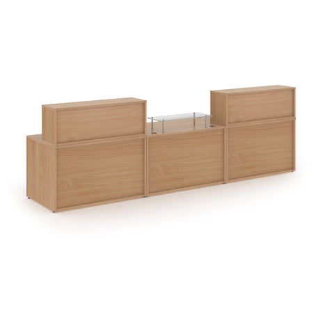 Denver large straight complete reception unit - beech - Furniture