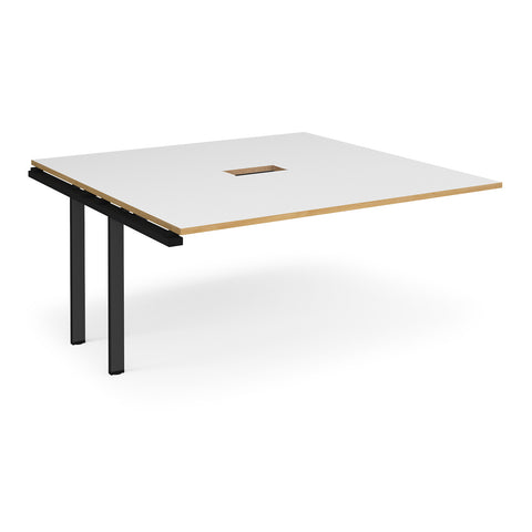 Adapt boardroom table add on unit 1600mm x 1600mm with central cutout 272mm x 132mm - black frame, white with oak edge top - Furniture