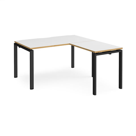 Adapt desk 1400mm x 800mm with 800mm return desk - black frame, white top with oak edge - Furniture