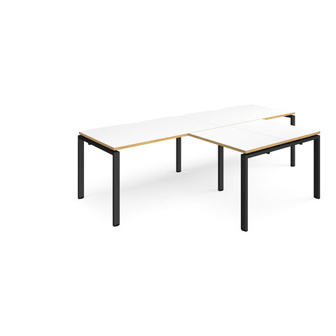 Adapt double straight desks 2800mm x 800mm with 800mm return desks - black frame, white top with oak edge - Furniture