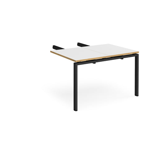 Adapt add on unit double return desk 800mm x 1200mm - black frame, white top with oak edge - Furniture