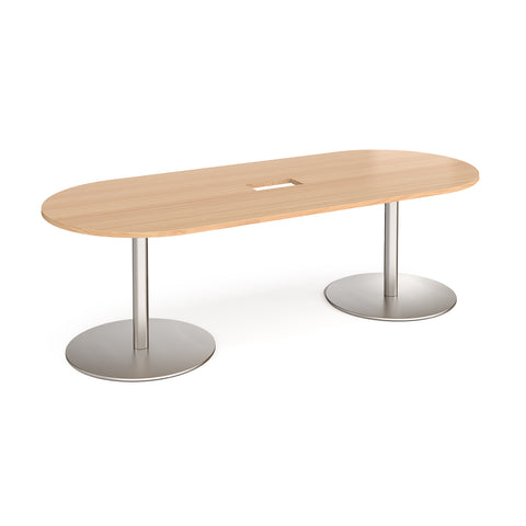 Eternal radial end boardroom table 2400mm x 1000mm with central cutout 272mm x 132mm - brushed steel base, top - Furniture