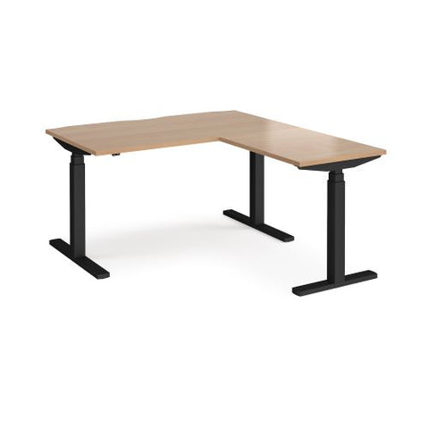 Elev8 Touch sit-stand desk 1400mm x 800mm with 800mm return desk - black frame, beech top - Furniture