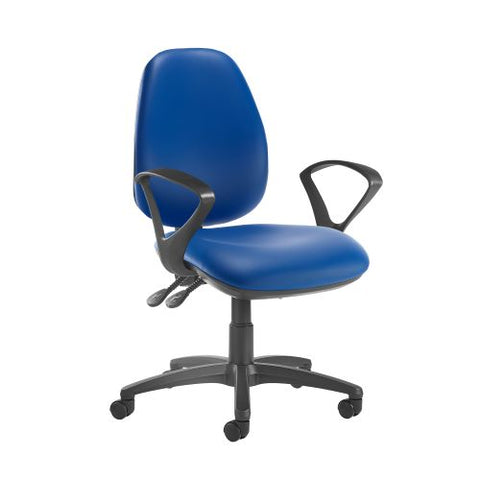 Jota high back operator chair with fixed arms - Ocean Blue vinyl - Furniture