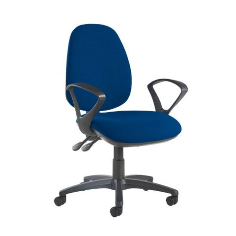 Jota high back operator chair with fixed arms - Curacao Blue - Furniture