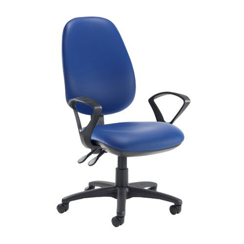 Jota extra high back operator chair with fixed arms - Ocean Blue vinyl - Furniture