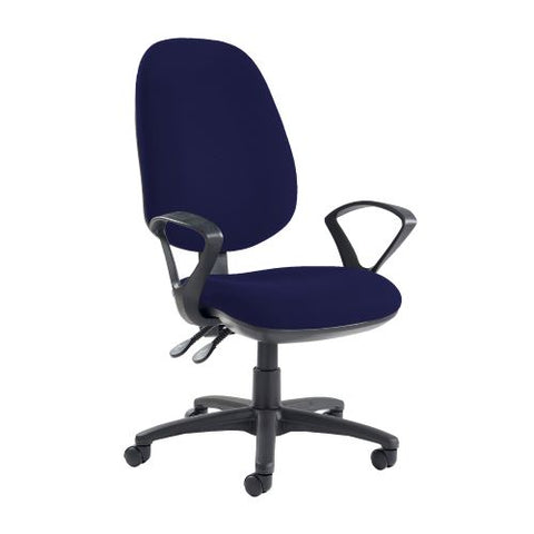 Jota extra high back operator chair with fixed arms - Ocean Blue - Furniture
