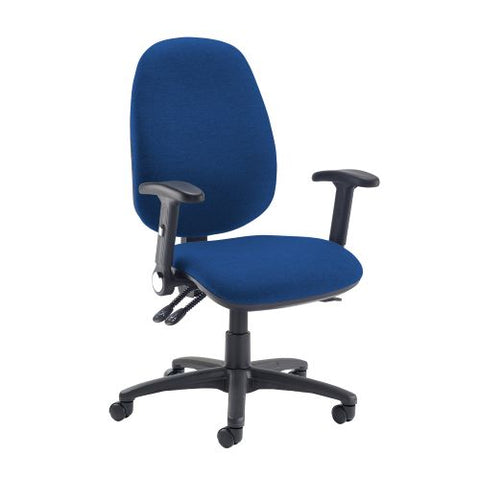 Jota extra high back operator chair with folding arms - Curacao Blue - Furniture