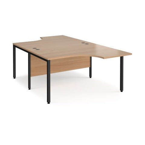 Maestro 25 back to back ergonomic desks 1400mm deep - black bench leg frame, beech top - Furniture