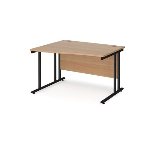 Maestro 25 left hand wave desk 1200mm wide - black cantilever leg frame, beech top - Furniture