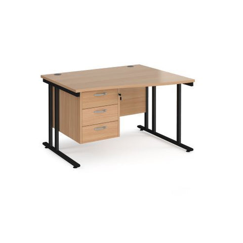 Maestro 25 right hand wave desk 1200mm wide with 3 drawer pedestal - black cantilever leg frame, beech top - Furniture