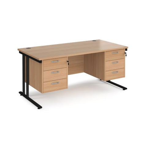 Maestro 25 straight desk 1600mm x 800mm with two x 3 drawer pedestals - black cantilever leg frame, beech top - Furniture
