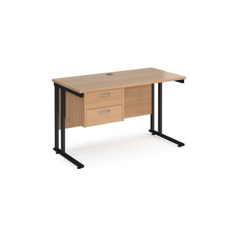 Maestro 25 straight desk 1200mm x 600mm with 2 drawer pedestal - black cantilever leg frame, beech top - Furniture