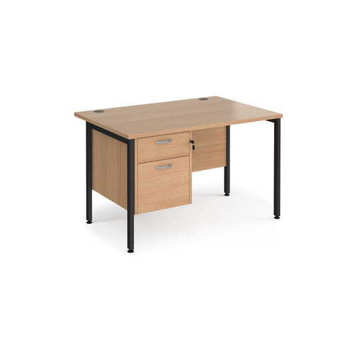 Maestro 25 straight desk 1200mm x 800mm with 2 drawer pedestal - black H-frame leg, beech top - Furniture