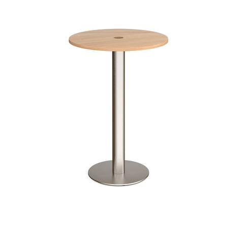 Monza circular poseur table 800mm with central circular cutout 80mm - beech - Furniture