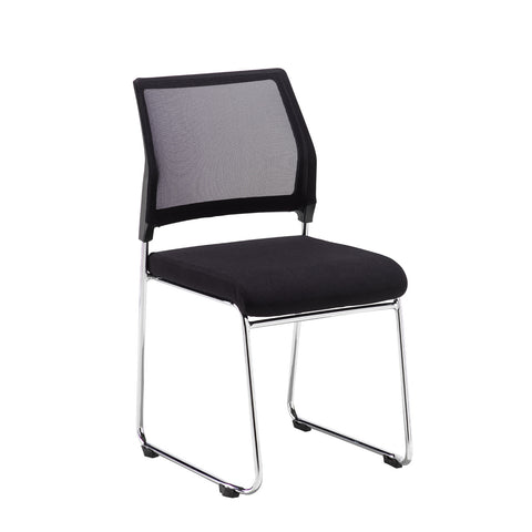 Quavo black mesh back multi-purpose chair with black fabric seat and chrome wire frame (pack of 4) - Furniture