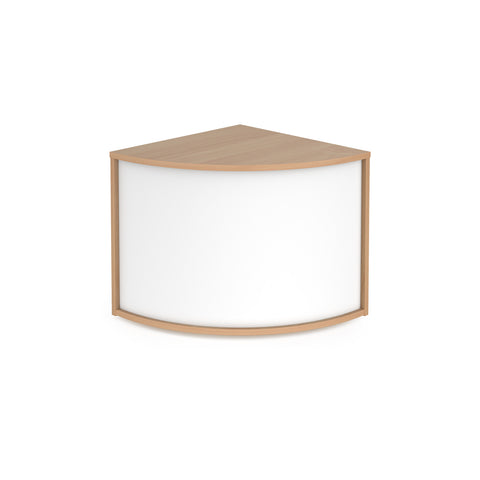 Denver reception 90� corner base unit 800mm - beech with white panels - Furniture