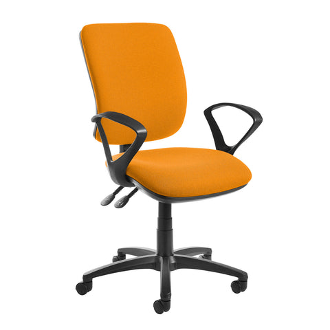 Senza high back operator chair with fixed arms - Solano Yellow - Furniture