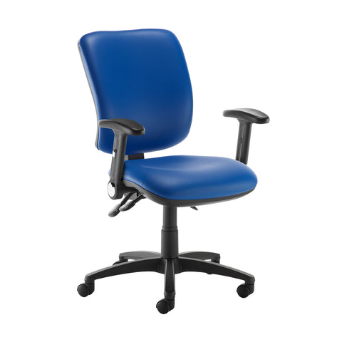 Senza high back operator chair with folding arms - Ocean Blue vinyl - Furniture