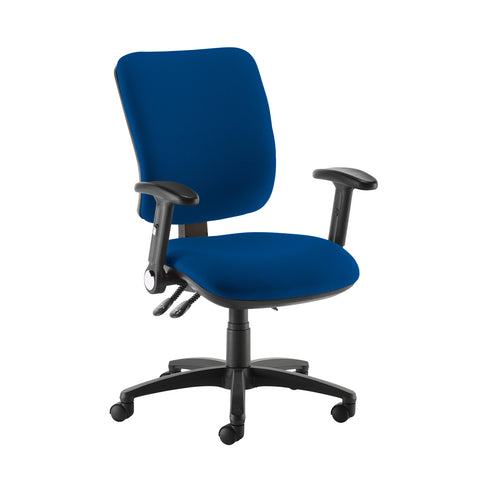 Senza high back operator chair with folding arms - Curacao Blue - Furniture