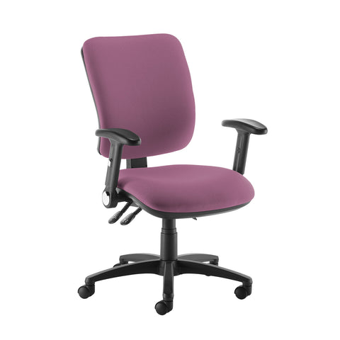 Senza high back operator chair with folding arms - Bridgetown Purple - Furniture