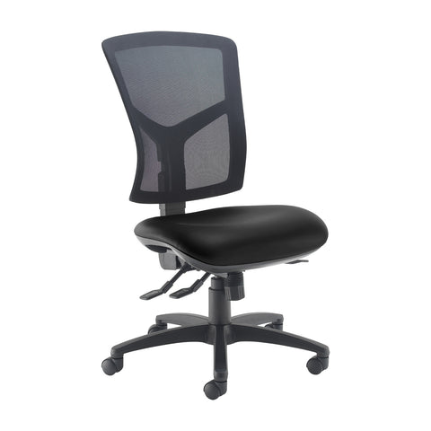 Senza high mesh back operator chair with no arms - Nero Black vinyl - Furniture