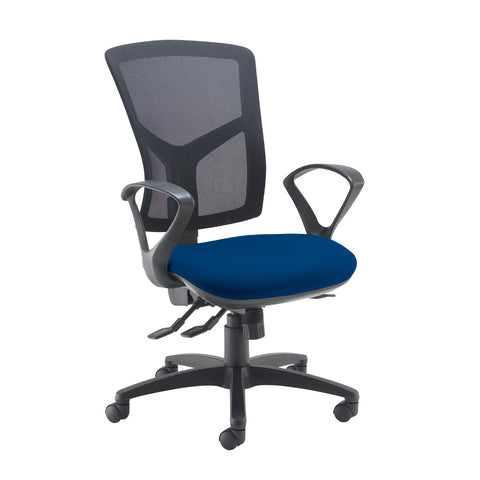Senza high mesh back operator chair with fixed arms - Curacao Blue - Furniture