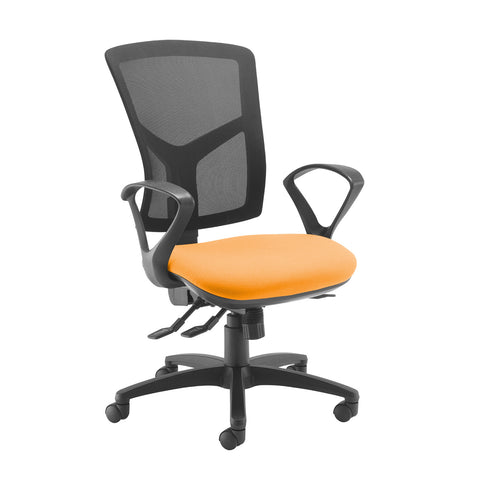 Senza high mesh back operator chair with fixed arms - Solano Yellow - Furniture