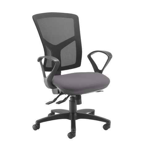 Senza high mesh back operator chair with fixed arms - Blizzard Grey - Furniture