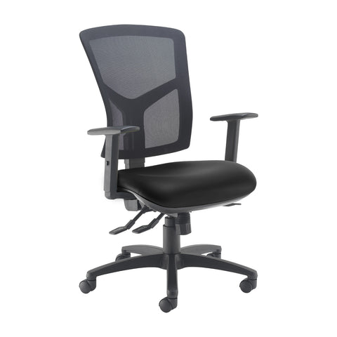 Senza high mesh back operator chair with adjustable arms - Nero Black vinyl - Furniture