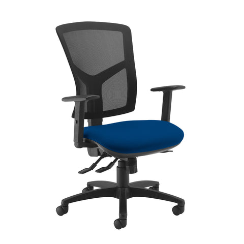 Senza high mesh back operator chair with adjustable arms - Curacao Blue - Furniture