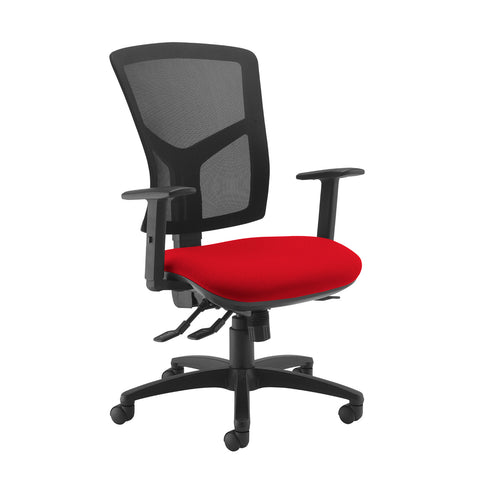 Senza high mesh back operator chair with adjustable arms - Panama Red - Furniture