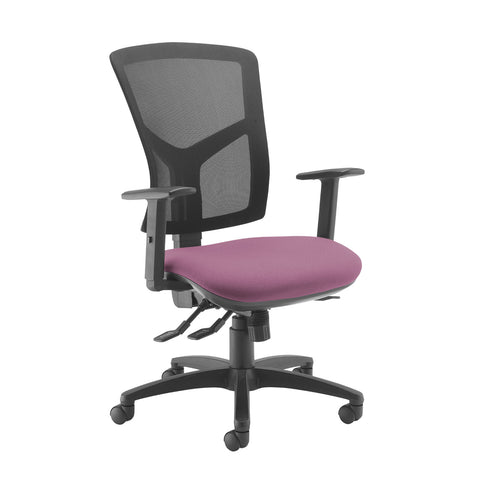 Senza high mesh back operator chair with adjustable arms - Bridgetown Purple - Furniture