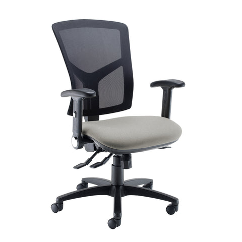 Senza high mesh back operator chair with folding arms - Slip Grey - Furniture